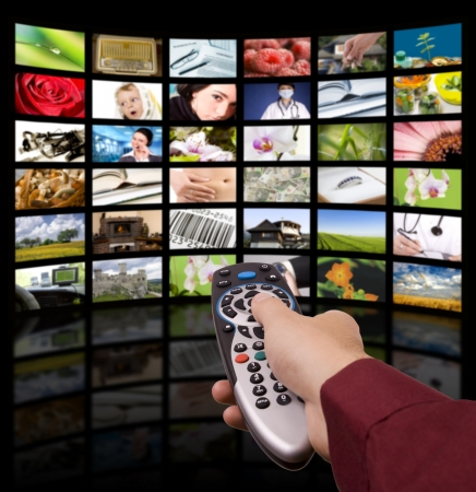 Photo pour LCD TV panels. Television production technology concept. Remote control. - image libre de droit