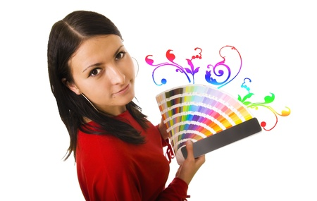 Stock photo of a young woman holding color guide