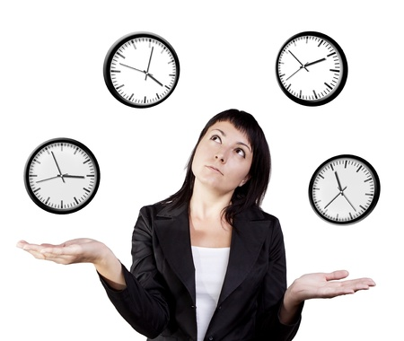 A young woman juggling the management of time  Isolated on a white background