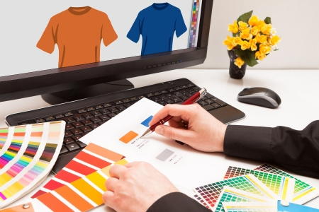 Graphic designer at work  Color samples Illustration picture