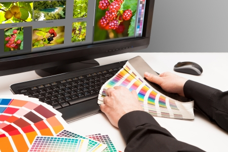 Graphic designer at work  Color samples  Photo picture fruit and nature