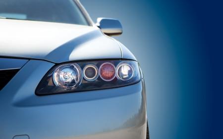 blue modern car closeup