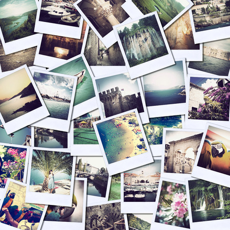 Photo pour mosaic with pictures of different places and landscapes, snapshots uploaded to social networking services - image libre de droit
