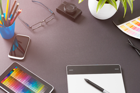 Design Designer Creative Graphic Desk Table - Stock Image