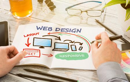 Photo for Designer's desk with responsive web design concept. - Royalty Free Image