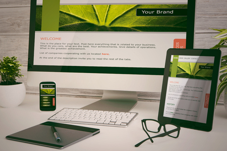 Photo for Designer's desk with responsive web design concept. - Royalty Free Image