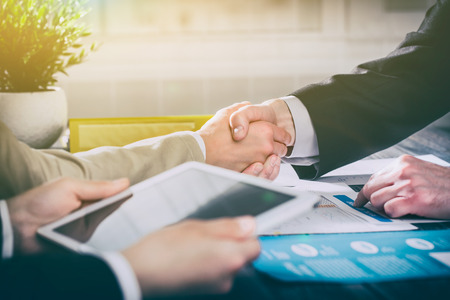 Photo pour business hand shake people handshake meeting partnership work job -  stock image - image libre de droit