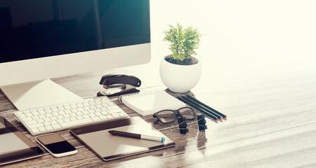 Photo for Designer's desk with responsive design mockup concept. - Royalty Free Image