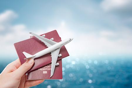 Foto de airplane passport flight travel traveller fly travelling citizenship air concept - stock image - Imagen libre de derechos