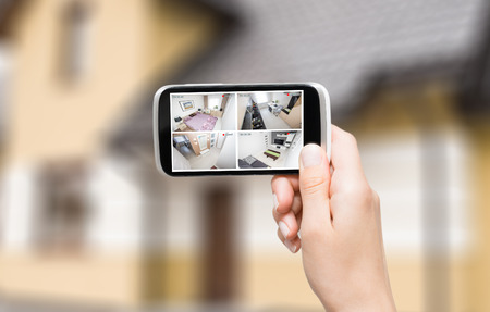 Foto de home camera cctv monitoring monitor system alarm smart house video phone view concept - stock image - Imagen libre de derechos