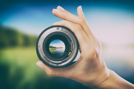 Photo for photography view camera photographer lens lense through video photo digital glass hand blurred focus people concept - stock image - Royalty Free Image