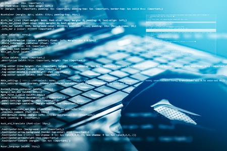 Photo pour Hacker using laptop. Lots of digits on the computer screen. - image libre de droit