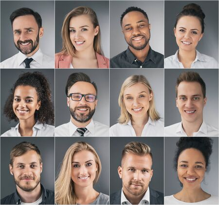 Photo pour Collage of portraits of an ethnically diverse young business people. - image libre de droit