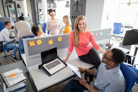 Photo for Team at work. Group of young business people working together in creative modern office. - Royalty Free Image