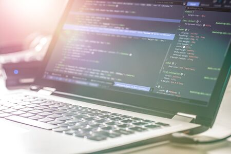 Photo pour Developing programming and coding technologies. Website design. Programmer working in a software develop company office. - image libre de droit