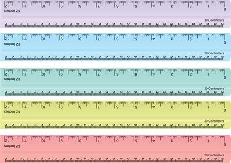 Illustration pour vector set of colorful rulers, millimeters, centimeters and inches - image libre de droit