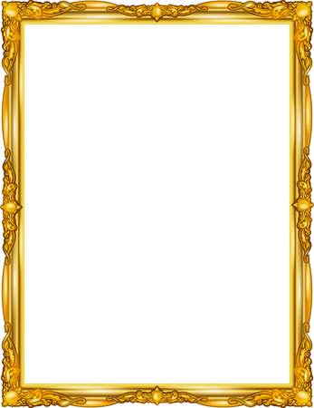 Illustration pour Gold photo frame with corner line floral for picture, design decoration pattern style.frame floral border template,wood frame design is patterned Thai style.frame gold metal beautiful corner. - image libre de droit