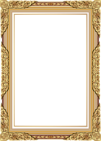 Illustration pour Gold photo frame with corner line floral for picture, Vector frame border design decoration pattern style. Thai art golden metal beautiful corner. - image libre de droit