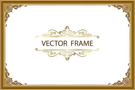 Ilustración de Thai art with Golden border frame - Imagen libre de derechos