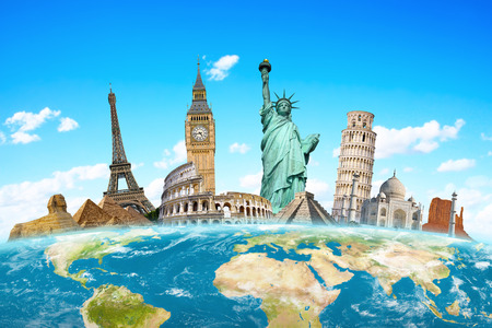 Photo pour Famous monuments of the world grouped together on planet Earth - image libre de droit