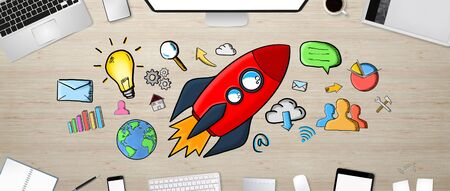 Red hand drawn rocket presentation with icons on desk office background