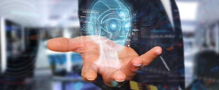 Foto de Businessman on blurred background using digital artificial intelligence head interface 3D rendering - Imagen libre de derechos