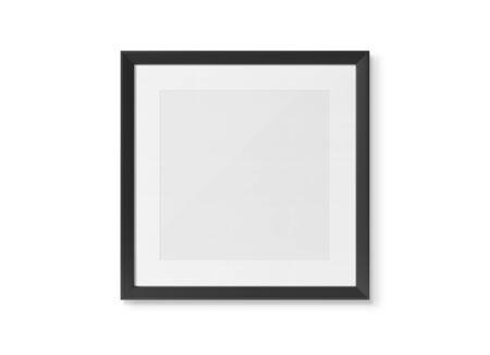 Photo pour Black squared wooden frame on white wall background 3D rendering - image libre de droit