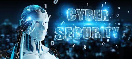 Foto de White humanoid on blurred background using cyber security text hologram 3D rendering - Imagen libre de derechos