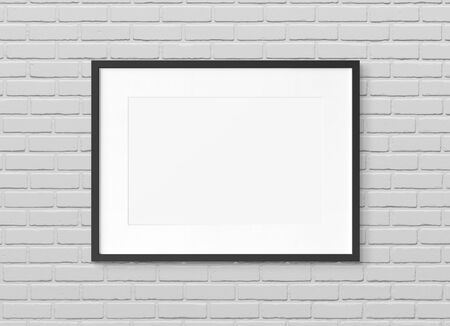 Photo pour Black rectangular wooden frame on brick wall background 3D rendering - image libre de droit
