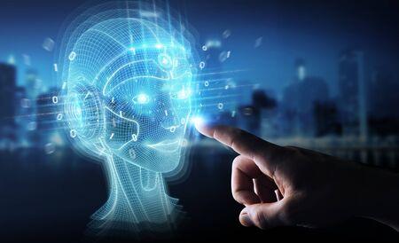 Foto de Businessman on dark background using digital artificial intelligence head interface 3D rendering - Imagen libre de derechos