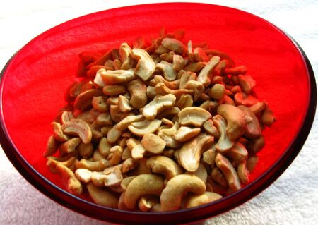 Red Bowl of cashew nuts