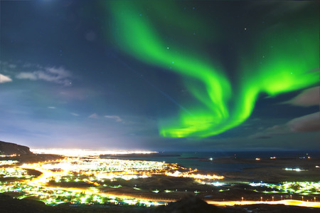 Northern lights above Reykjavik Iceland