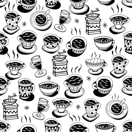 Illustration pour Seamless pattern with coffee cups on a white background. Doodle vector illustration. - image libre de droit