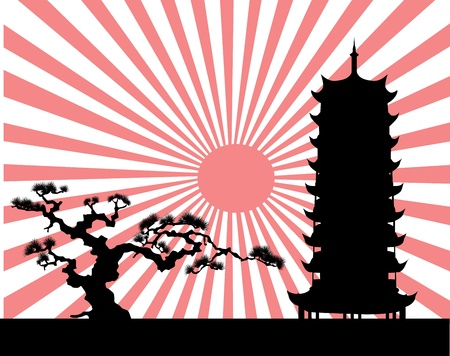 the Japanese landscape silhouette vector