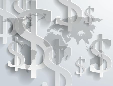 Background of dollar symbol on world map - vector illustration
