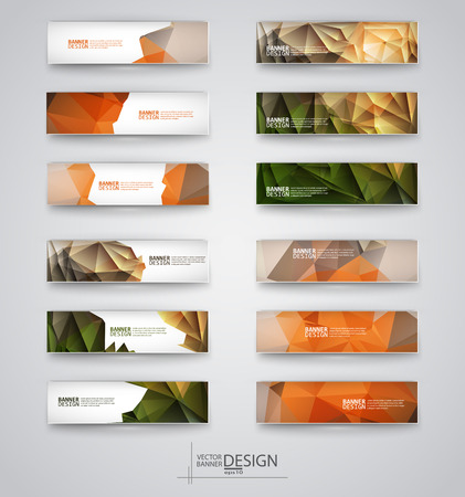 Business design templates. Set of Banners with Multicolored Polygonal Mosaic Backgrounds. Geometric Triangular Abstract Modern Vector Illustration.