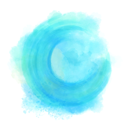 Blue watercolor hand drawn isolated wash spot on white