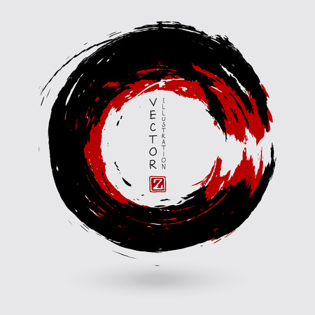 Illustration pour Black and red ink round stroke on white background. Japanese style. Vector illustration of grunge circle stains - image libre de droit
