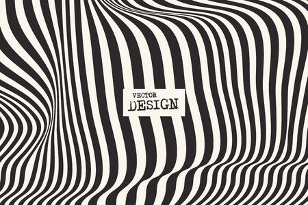 Illustration for Design monochrome waving lines illusion background. Abstract stripe distortion backdrop. Zebra style decoration. Wallpaper with empty space for your text. Vector illustration - Royalty Free Image