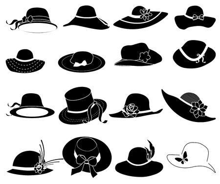 Ladies hats icons set