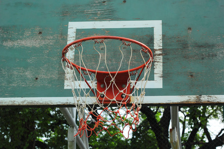 Basketball hoop against the warm summer