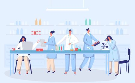 Illustration for Laboratory coronavirus antivirus vaccine antiviral biology research doctors people concept with flask vector illustration. Scientists in laboratory, chemical virus researchers with lab equipment. - Royalty Free Image