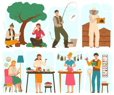 Illustration pour People with different hobbies, set of cartoon characters, vector illustration. Men and women fishing, canning vegetables, embroiders and collecting butterflies. Creative hobby, leisure activity set - image libre de droit