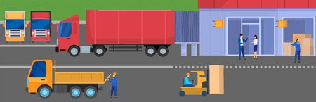 Truck delivery logistic to warehouse storage facility, people work in cargo industry, vector illustration. Transportation network, warehouse manager, employees in uniform. International shipping truck