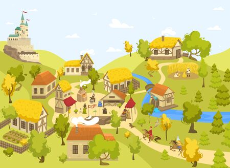 Illustration pour Medieval village with castle, half timbered houses and people on market square, vector illustration - image libre de droit