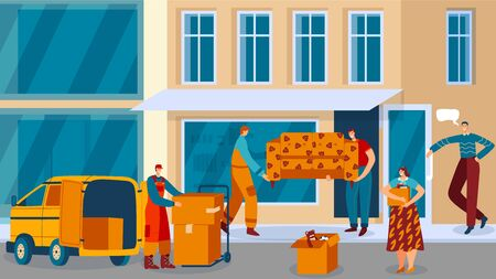 People moving to new city apartment, furniture transportation and box delivery service, vector illustration. Smiling men carrying couch, house relocating. Real estate business, property transfer van
