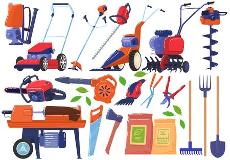 Illustration pour Garden and farm tools, instruments icon collection isolated on white vector illustration. - image libre de droit