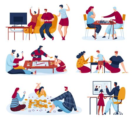 Illustration pour Family people play board games vector illustrations, cartoon flat mother, father and kids player characters playing chess or gaming strategy - image libre de droit