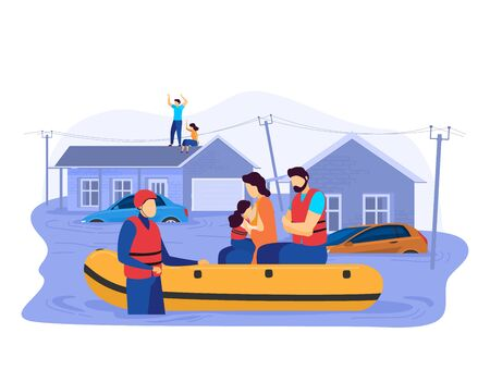 Illustration pour Tsunami consequences, rescue male female character evacuation save inflatable boat people victim flood isolated on white, cartoon vector illustration. - image libre de droit