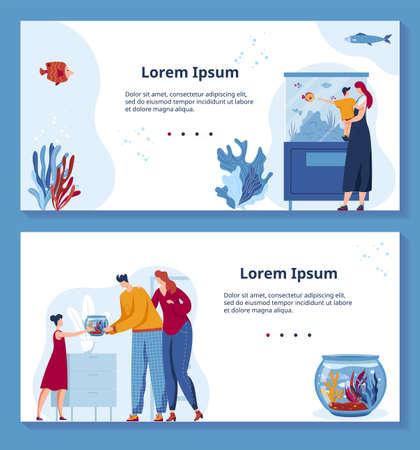 Illustration pour Pet shop vector illustration set, cartoon flat domestic animal store banners design with family people buying cute fish marine pet - image libre de droit